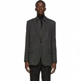 Saint Laurent	 Black Plaid Long Blazer 574514Y017V