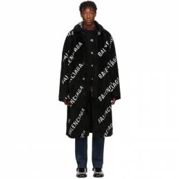 Balenciaga Black Faux-Fur Big Fit Car Coat 595827 TGQ02