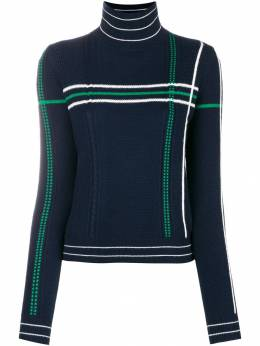 Carven - striped high neck knit sweater 0PU65593036890000000