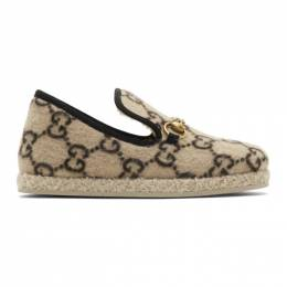 Gucci Beige Wool GG Covered Fria Loafers 575850 G3840