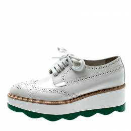 Prada White/Green Brogue Leather Platform Wingtip Lace Up Derby Size 38