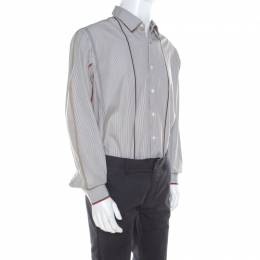 Salvatore Ferragamo	 Brown Pin Striped Cotton Derby Fit Shirt XXL