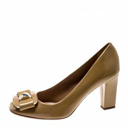 Dior Beige Patent Leather Buckled Square Toe Pumps Size 36