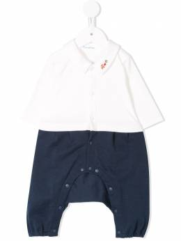 Familiar train embroidered shirt-trousers romper 123501