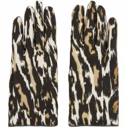 Raf Simons Beige and Brown Animal Fabric Gloves 192-961