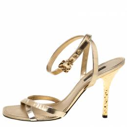 Louis Vuitton Metallic Gold Leather Classic Strappy Sandals Size 37 215114
