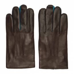 Paul Smith	 Brown Leather Concertina Gloves M1A-204D-BG150