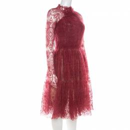 Ermanno Scervino Red Crinkled Tulle Lace Cocktail Dress S 215737