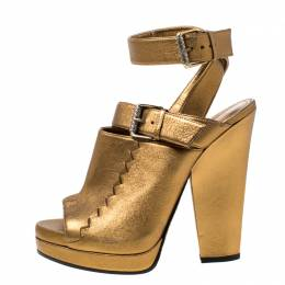 Bottega Veneta Metallic Gold Intrecciato Detail Leather Peep Toe Ankle Wrap Platform Sandals Size 39 216026