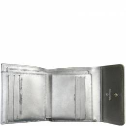Chanel Silver Caviar Leather Boy Chanel Trifold Wallet 215907