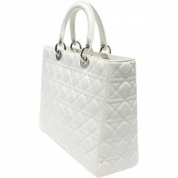 Christian Dior White Cannage Patent Leather Large Lady Dior Tote 216139