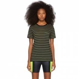 T by Alexander Wang Khaki Striped Slub T-Shirt 192214F11004004GB