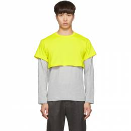 Comme des Garcons Shirt Yellow and Grey 2-Tone Long Sleeve T-Shirt 192270M21300204GB