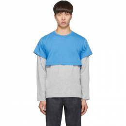 Comme des Garcons Shirt Blue and Grey 2-Tone Long Sleeve T-Shirt 192270M21300104GB