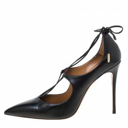 Aquazurra Black Leather Matilde Tie Up Pointed Toe Pumps Size 40 Aquazzura