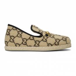 Gucci Beige Fria Covered Wool GG Loafers 574845 G3810