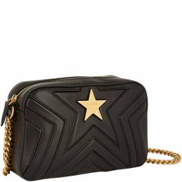 Stella Mccartney Black Quilted Faux Nappa Leather Small Stella Star Shoulder Bag 219462