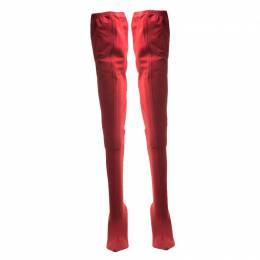 Balenciaga Red Stretch Fabric Knife Pointed Toe Thigh High Boots Size 40 215968