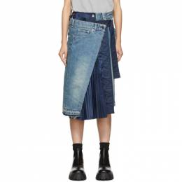 Sacai Blue Denim Skirt 192445F09201001GB