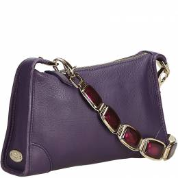 Celine Purple Leather Gem Shoulder Bag