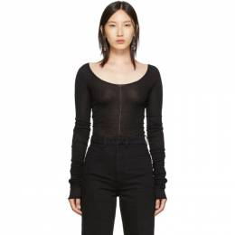 Lemaire Black Bare Shoulder Second Skin Sweater W 193 KN407
