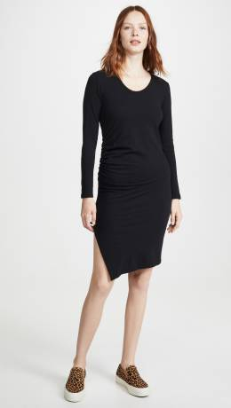 Sundry	 Long Sleeve Ruched Dress