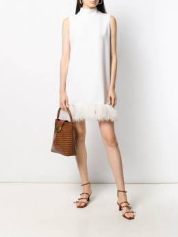 P.A.R.O.S.H. - faux-feather trim dress ATYXD339998P95399853