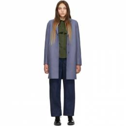 Harris Wharf London Blue Wool Cocoon Coat A1301 MLK