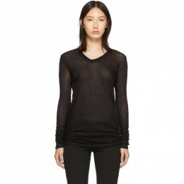 Rick Owens Black V-Neck Long Sleeve T-Shirt 192232F11000505GB