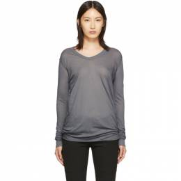 Rick Owens Grey V-Neck Long Sleeve T-Shirt 192232F11000404GB