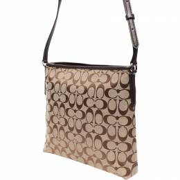 Coach Brown/Beige Signature Coated Canvas Leather Crossbody Bag 219280