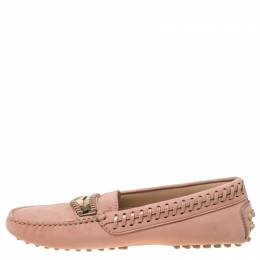 Tod's Pale Pink Suede Whip Stitch Detail Penny Loafers Size 36 Tod's
