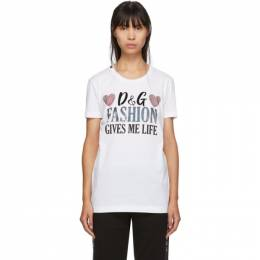 Dolce and Gabbana White Fashion Gives Me Life T-Shirt 192003F11001002GB