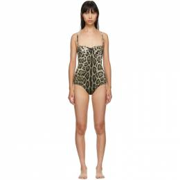 Dolce and Gabbana Tan Leopard One-Piece Swimsuit 192003F10300502GB