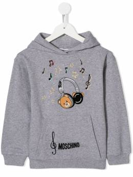 Moschino Kids - Teddy Bear headphones print hoodie 60YLDA93953635960000