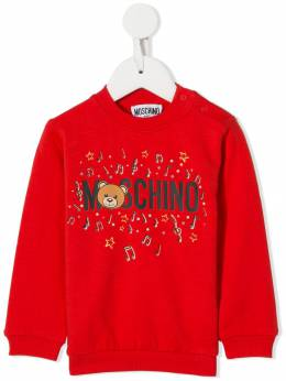 Moschino Kids - Teddy Bear musical notes print sweater 60PLDA93953635660000