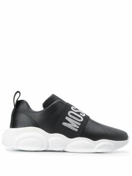 Moschino - crystal-embellished slip-on logo sneakers 5003G68MF69550393600