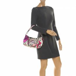 Coach Multicolor Satin and Leather Poppy Shoulder Bag 218062