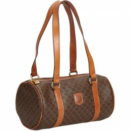 Celine Brown Macadam PVC Shoulder Bag