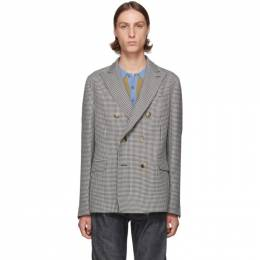 Loewe Black and White Houndstooth Double-Breasted Blazer 192677M19500505GB