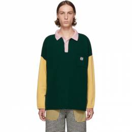 Loewe Green and Pink Cashmere Long Sleeve Polo 192677M21200202GB