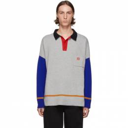 Loewe Grey and Blue Cashmere Long Sleeve Polo 192677M21200103GB