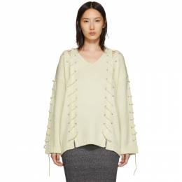 McQ Alexander McQueen Off-White Lace-Up Jumper 192114F10000104GB