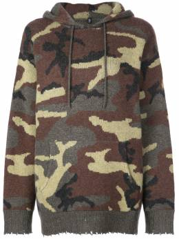 R13 - camouflage pattern knitted hoodie W3655959553603900000