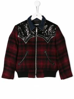 Dsquared2 Kids - sequin check bomber jacket 3R9D66V8955035950000