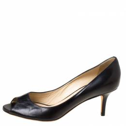 Jimmy Choo Black Leather Isabel Peep Toe Pumps Size 37.5