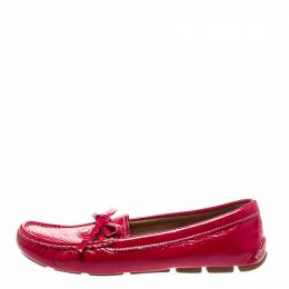 Prada Magenta Patent Leather Bow Loafers Size 38.5