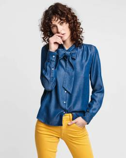 Рубашка Chambray Bow Blouse Gant 39816