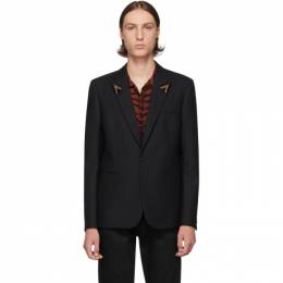 Saint Laurent	 Black Striped Beaded Lapel Blazer 583325Y031V