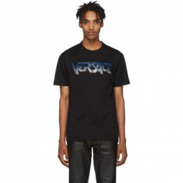 Versace Black Embroidered Logo T-Shirt 192404M21302905GB